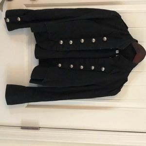 Jackets & Blazers - Black cotton jacket with silver round buttons